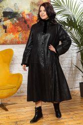 Кожаное пальто больших размеров HuremViz. Фото 5.