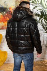 Мужской кожаный пуховик больших размеров. Фото 1.