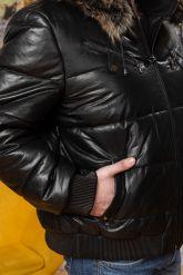 Мужской кожаный пуховик больших размеров. Фото 2.