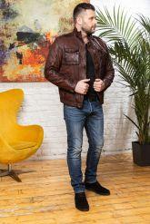 Мужская кожаная куртка цвета виски 2020. Фото 3.