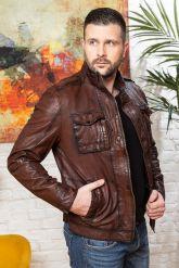 Мужская кожаная куртка цвета виски 2020. Фото 4.