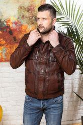Мужская кожаная куртка цвета виски 2020. Фото 7.