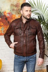 Мужская кожаная куртка цвета виски 2020. Фото 8.