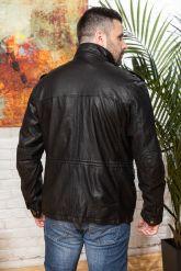 Мужская кожаная куртка в стиле милитари 2020. Фото 1.