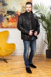 Мужская кожаная куртка в стиле милитари 2020. Фото 3.