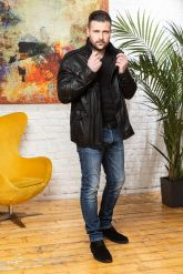 Мужская кожаная куртка в стиле милитари 2020. Фото 4.