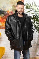 Удлиненная кожаная куртка для мужчин. Фото 5.
