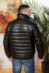 Короткий кожаный пуховик для мужчин больших размеров. Фото 1.