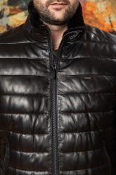 Короткий кожаный пуховик для мужчин больших размеров. Фото 2.