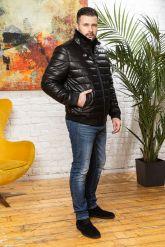 Короткий кожаный пуховик для мужчин больших размеров. Фото 3.