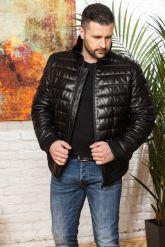 Короткий кожаный пуховик для мужчин больших размеров. Фото 5.