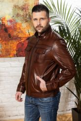 Мужская кожаная куртка на молнии Весна 2020. Фото 5.
