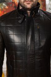 Мужская кожаная куртка с планкой. Фото 2.