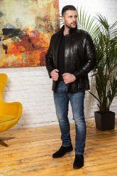 Мужская кожаная куртка с планкой. Фото 3.