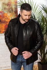 Мужская кожаная куртка с планкой. Фото 4.