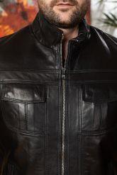 Мужская кожаная куртка черного цвета. Фото 2.