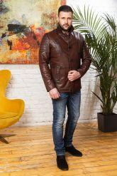 Мужская кожаная куртка цвета виски с отложным воротником. Фото 3.