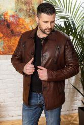 Мужская кожаная куртка цвета виски с отложным воротником. Фото 4.