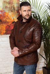 Мужская кожаная куртка цвета виски с отложным воротником. Фото 5.