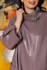 Модный кожаный плащ свободного кроя. Фото 2.