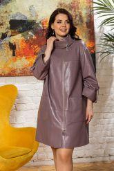 Модный кожаный плащ свободного кроя. Фото 8.
