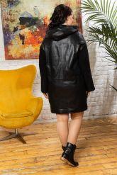 Женский кожаный плащ с капюшоном 2018. Фото 1.