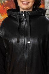 Женский кожаный плащ с капюшоном 2018. Фото 2.