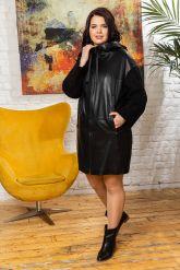 Женский кожаный плащ с капюшоном 2018. Фото 3.