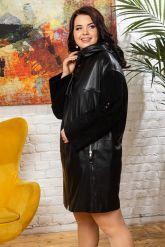 Женский кожаный плащ с капюшоном 2018. Фото 4.