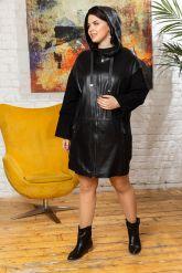 Женский кожаный плащ с капюшоном 2018. Фото 6.
