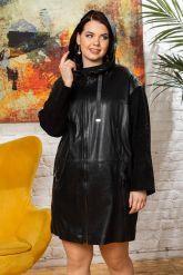 Женский кожаный плащ с капюшоном 2018. Фото 7.