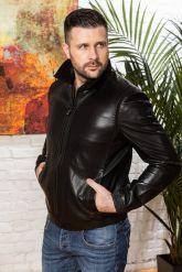 Мужская кожаная куртка на резинке черного цвета. Фото 5.