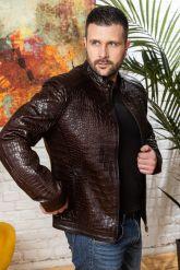 Мужская кожаная куртка коричневого цвета. Фото 6.