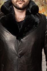 Зимняя мужская дубленка - тренч. Фото 2.