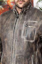 Короткая мужская кожаная куртка. Фото 2.
