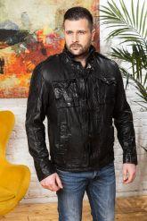 Мужская куртка из стиранной кожи в стиле милитари. Фото 7.