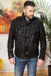 Мужская куртка из стиранной кожи в стиле милитари. Фото 8.