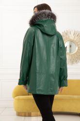 Женская кожаная куртка больших размеров лиственно-зеленого цвета. Фото 2.