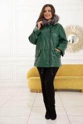 Женская кожаная куртка больших размеров лиственно-зеленого цвета. Фото 4.