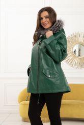 Женская кожаная куртка больших размеров лиственно-зеленого цвета. Фото 5.