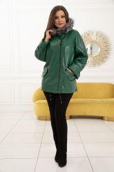 Женская кожаная куртка больших размеров лиственно-зеленого цвета. Фото 6.