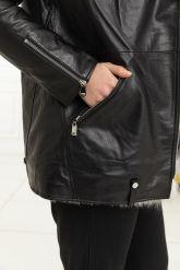 Стильная утепленная кожаная куртка. Фото 3.