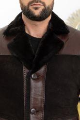 Стильная мужская дубленка на пуговицах. Фото 2.