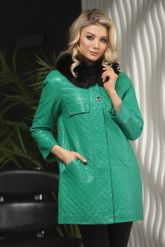 Кожаная куртка в стиле Шанель зеленого  цвета с воротником из меха песца. Фото 1.