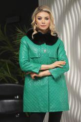 Кожаная куртка в стиле Шанель зеленого  цвета с воротником из меха песца. Фото 5.