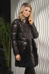 Теплое кожаное женское пальто. Фото 6.