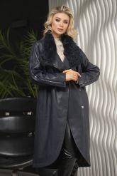 Пальто кожаное полуночно-синего цвета. Фото 1.