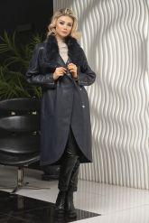Пальто кожаное полуночно-синего цвета. Фото 5.