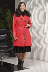Стильное кожаное пальто. Фото 1.
