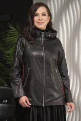 Женская кожаная куртка с капюшоном больших размеров. Фото 2.